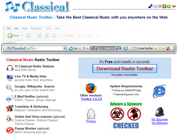Classical Music Radio Toolbar 70 stations